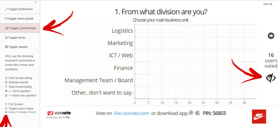 VoxVote chart invisible, set in the menu with, or keyboard letter C