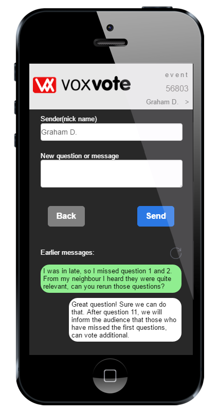 VoxVote live messaging - polling with option ask questions from the audience