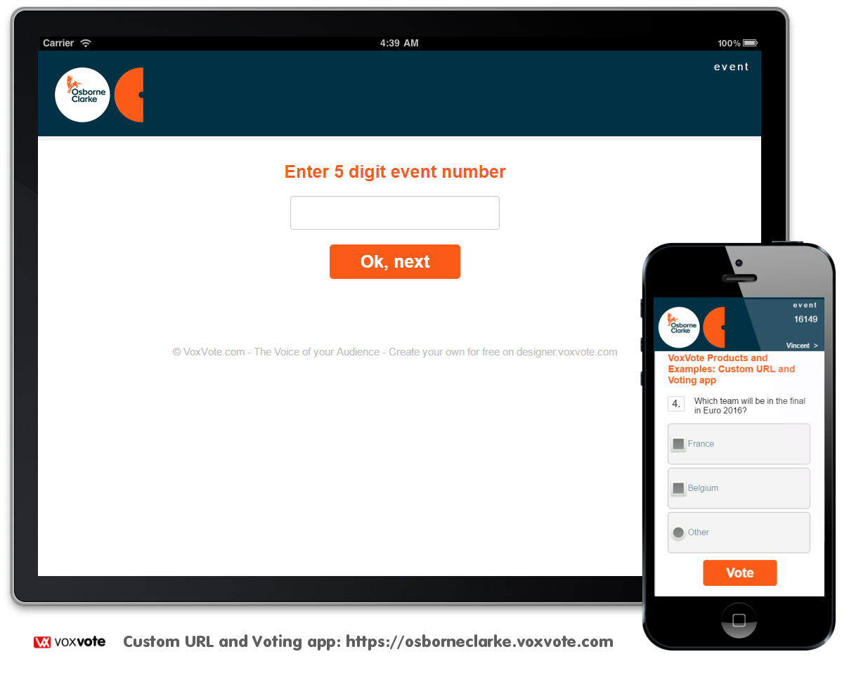 VoxVote Custom URL - voting screen and Smarptphone Responsive