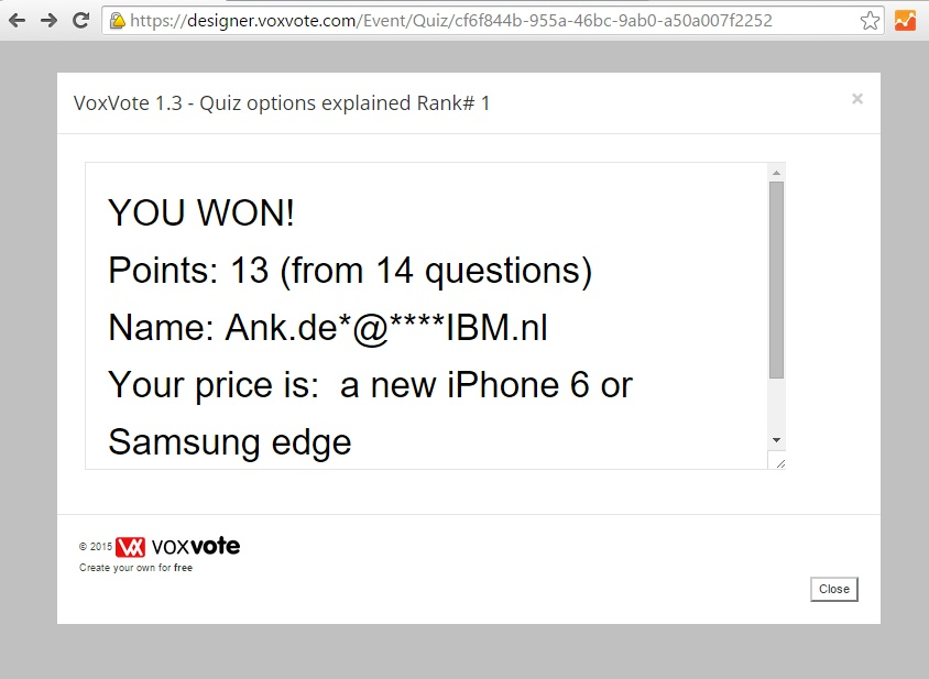 VoxVote Quiz - Transform your VoxVote questions into a Quiz