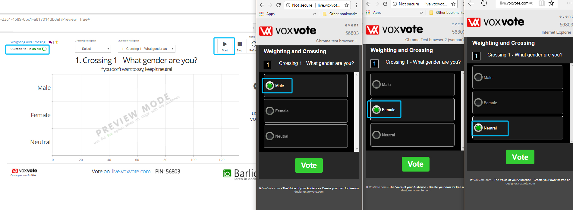 Example of designer and 3 open voting devices