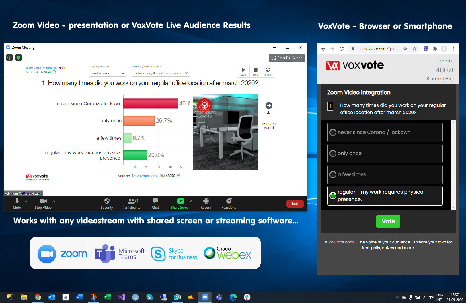 Combined windows - video stream with VoxVote polling